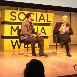 Toby Daniels, founder of Social Media Week, interviewing Mark Thompson, the CEO of the New York Times.