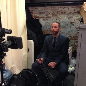 Alexis Bittar behind the scenes talking Lucite® ... moments before the NYFW event began.